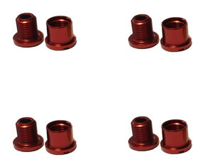 7mm Red Set Chainring Bolts & Nuts / Комплект 4 Болта & Гайки за Плоча