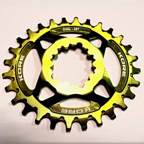28t Stronghold Oval Narrow Wide XD Green Chainring / Овална Алуминиева Плоча Директен Монтаж