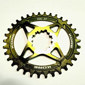 34t Stronghold Oval Narrow Wide XD Green Chainring / Овална Алуминиева Плоча Директен Монтаж